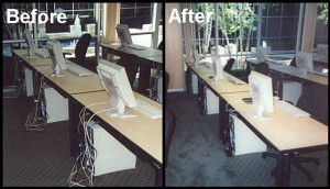Hide Wires in Office Computers with Tables