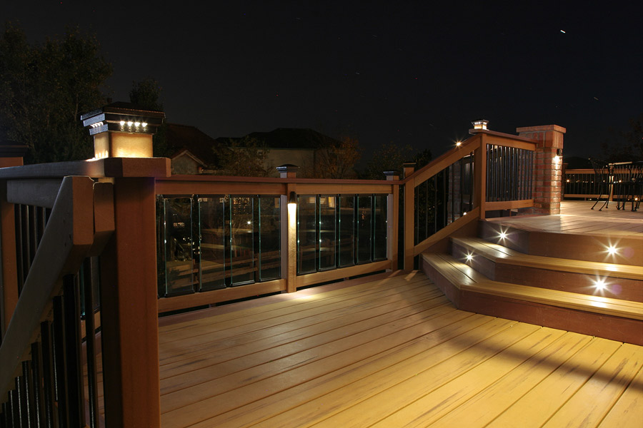 Led deck lights white contemporary style lighting deck featuring led deck lights white contemporary style lighting deck featuring dekor post caps glass panels and led recessed stair lights photo gallery aloadofball Gallery