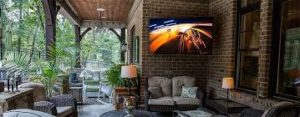 outdoor TV and lounge area