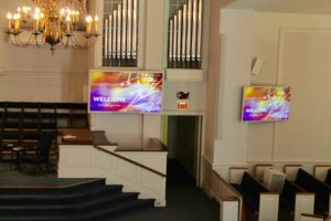 Flat Screen TVs in a Church