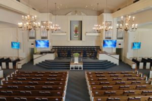 Large screen televisions in a church